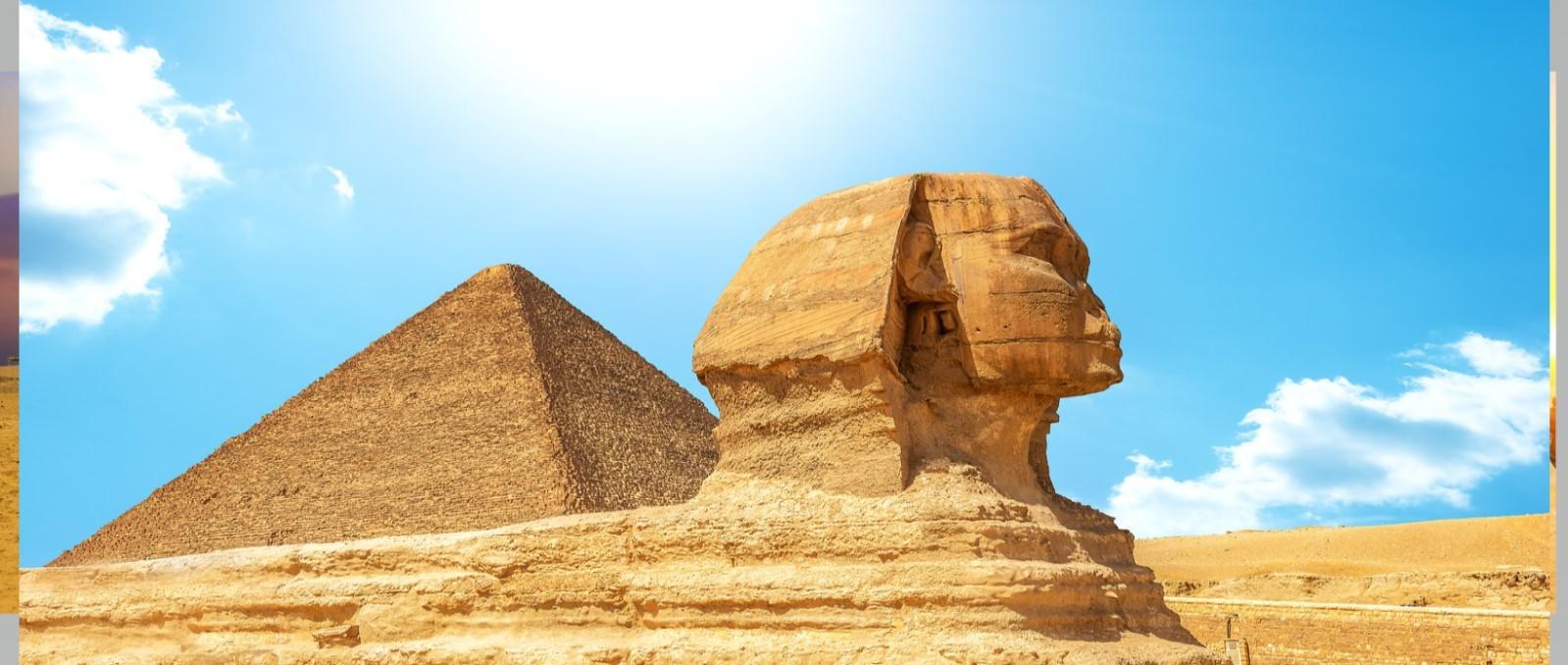 die sphinx von gizeh auf dem plateau von gizeh. Tagesausflug nach Kairo mit dem Flugzeug ab Marsa Alam